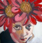 Autorretrato con flores en la cabeza